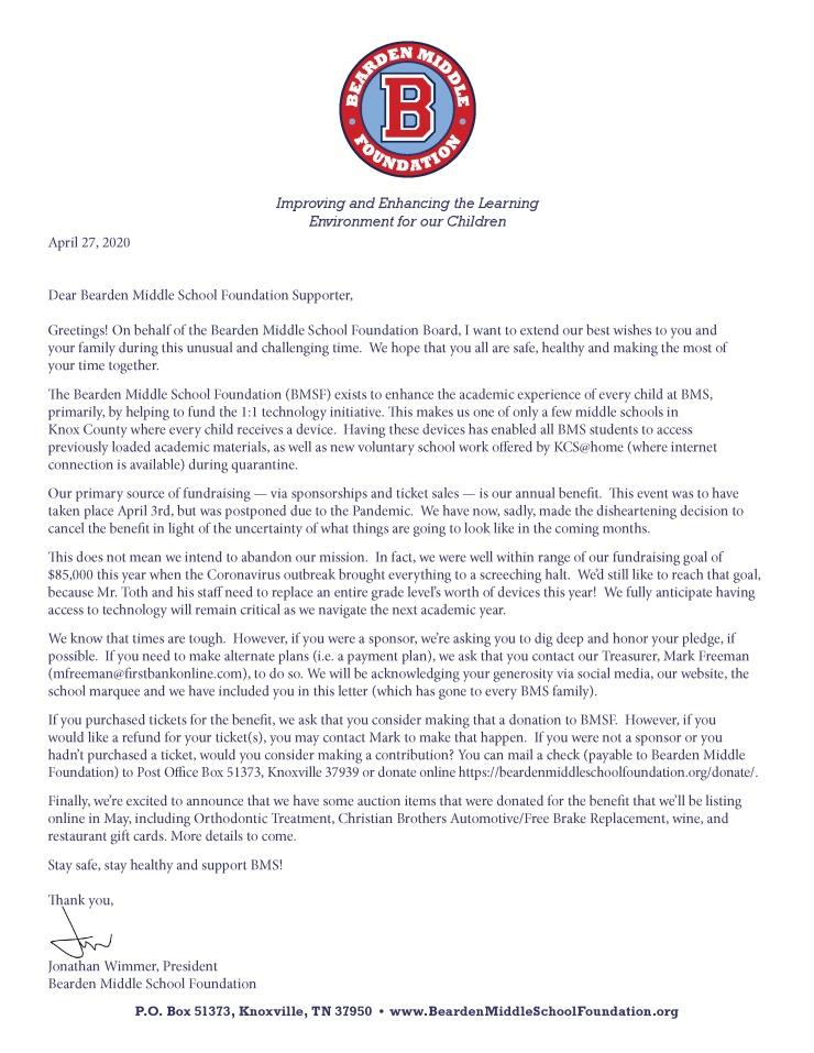 BMSF Sponsor Letter 2020